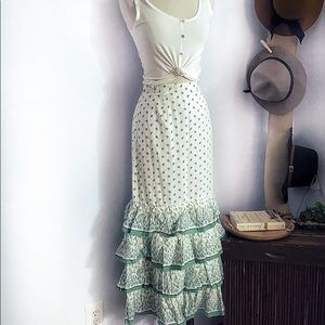 Anthropologie Green Leaf Tiered Ruffle Hem Skirt